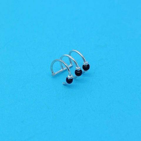Genuine 925 Sterling Silver Triple Band Ear Cuff Set with Black Beads